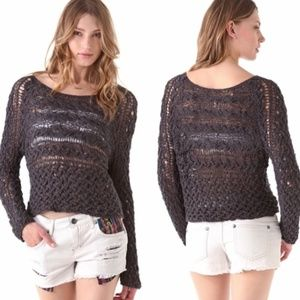 Free People marigold chunky crop sweater charcoal
